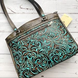 Patricia Nash Poppy tote Tooled Turquoise Bag